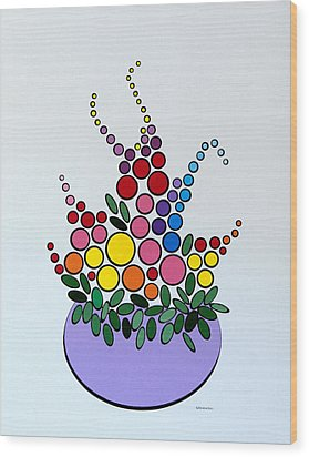 Potted Blooms - Lavendar Wood Print