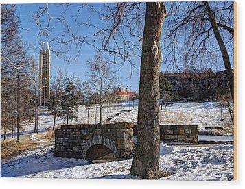 Potter Lake Foot Bridge And Campanile Wood Print by Jean Hutchison