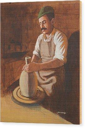 Potter's Wheel Wood Print by J W Kelly