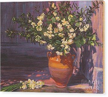 Pottery Flower Jug Wood Print by David Lloyd Glover