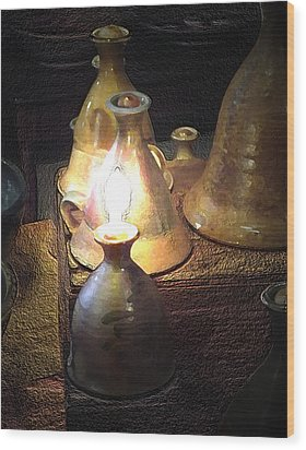 Pottery Oil Lamp  Wood Print by Joyce  Wasser