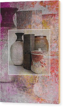 Pottery With Abstract Wood Print by John Fish