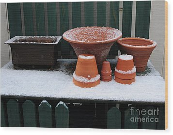 Wood Print featuring the photograph Potting Bench In Snow 11 by Vinnie Oakes