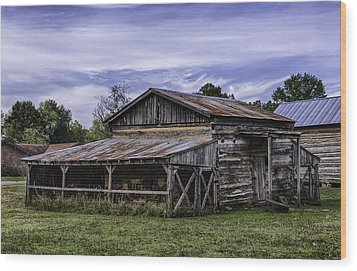 Wood Print featuring the photograph Pottsville Arkansas Historic Log Barn by Betty Denise