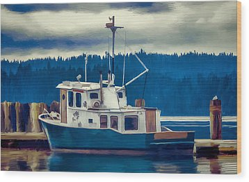 Poulsbo Waterfront 03 Wood Print by Wally Hampton