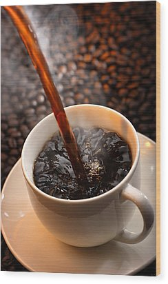 Pouring Coffee Wood Print by Johan Swanepoel