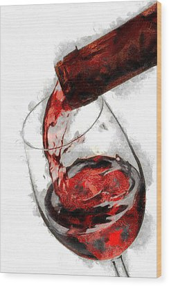 Pouring Red Wine Wood Print by Georgi Dimitrov
