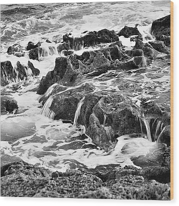 Pouring Rocks Wood Print