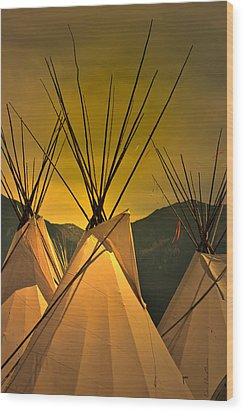 Pow Wow Camp At Sunrise Wood Print
