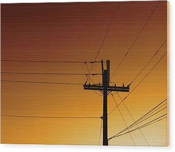 Power Line Sunset Wood Print by Don Spenner