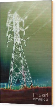 Power Lines Wood Print by Gregory Dyer