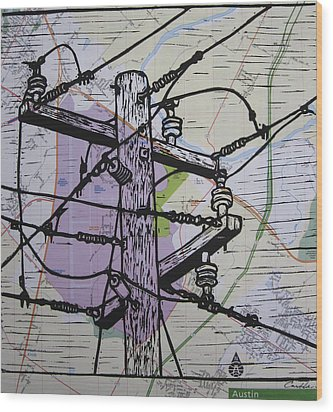 Power Lines On Map Wood Print by William Cauthern