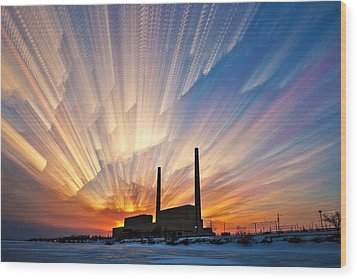 Power Plant Wood Print