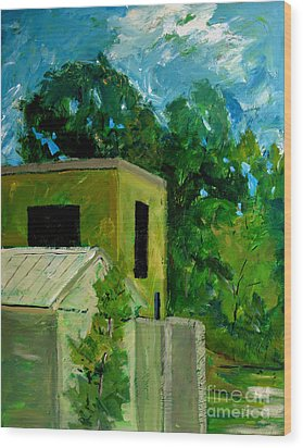 Power Plant Up River Wood Print by Charlie Spear