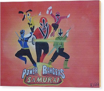 Power Rangers Samurai Wood Print by Rich Fotia