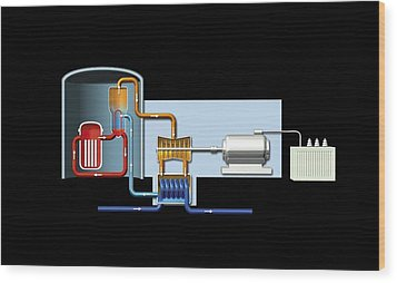 Power Station, Artwork Wood Print by Science Photo Library
