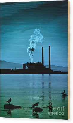 Power Station Silhouette Wood Print