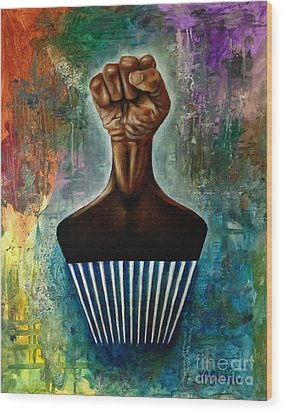 Power To The Afro Pick Wood Print by Ka-Son Reeves