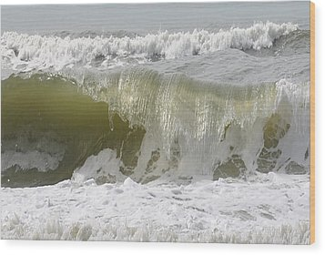 Powerful Wave Wood Print by Michele Kaiser