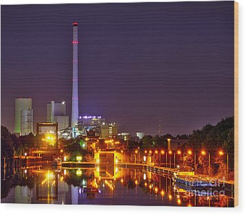 Powerhouse In A Sea Of Lights Wood Print