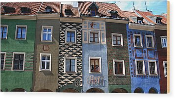 Poznan Town Houses Wood Print by Jacqueline M Lewis