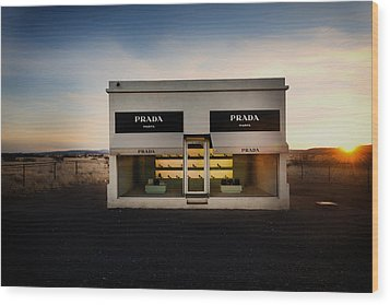 Prada Marfa Wood Print by Mountain Dreams