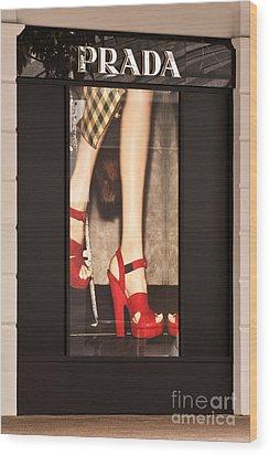 Prada Red Shoes Wood Print