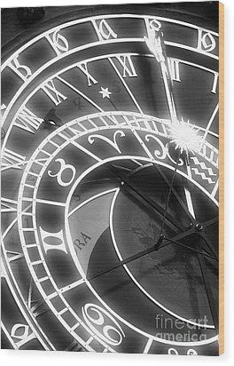 Prague Astronomical Clock Wood Print by John Rizzuto