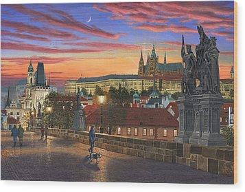 Prague At Dusk Wood Print by Richard Harpum