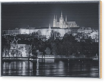 Prague Castle At Night Wood Print by Joan Carroll