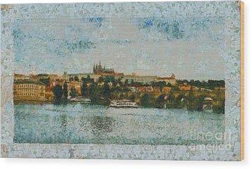 Prague Castle Over The River Wood Print by Dana Hermanova