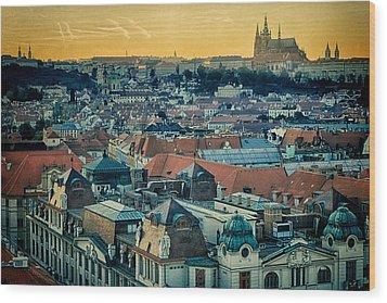 Prague Castle Sunset Wood Print by Joan Carroll