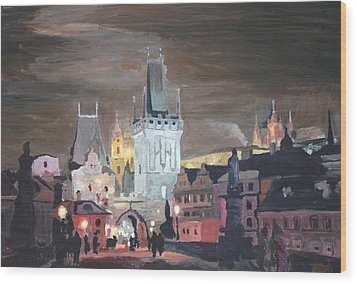 Prague Charles Bridge - Karluv Most Wood Print by M Bleichner