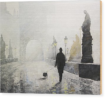 Prague Charles Bridge Morning Walk 01 Wood Print by Yuriy Shevchuk