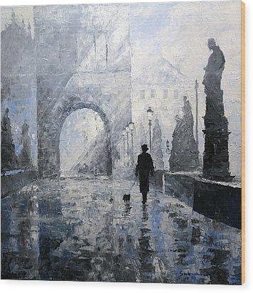 Prague Charles Bridge Morning Walk Wood Print by Yuriy Shevchuk