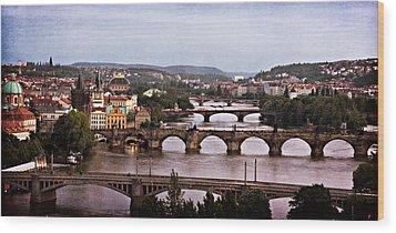 Prague Cityscape - Texture Wood Print by Barry O Carroll