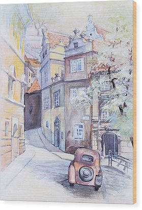 Prague Golden Well Lane Wood Print