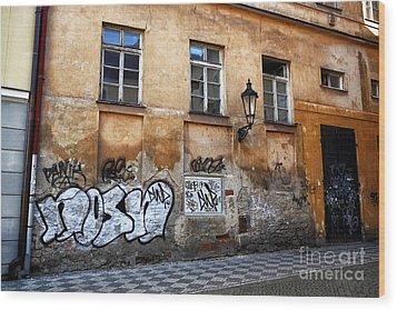 Prague Graffiti Scene Wood Print by John Rizzuto