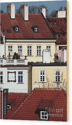 Prague Houses Wood Print by John Rizzuto