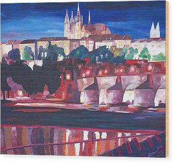 Prague - Hradschin With Charles Bridge Wood Print by M Bleichner