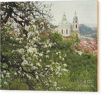 Prague In Bloom II Wood Print