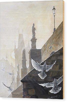 Prague Morning On The Charles Bridge  Wood Print by Yuriy Shevchuk