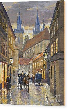 Prague Old Street Stupartska Wood Print by Yuriy Shevchuk