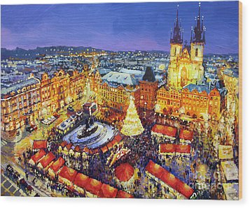 Prague Old Town Square Christmas Market 2014 Wood Print by Yuriy Shevchuk