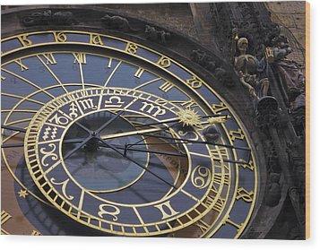 Prague Orloj Wood Print by Adam Romanowicz