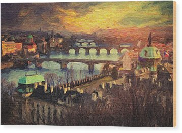 Prague Wood Print by Taylan Apukovska