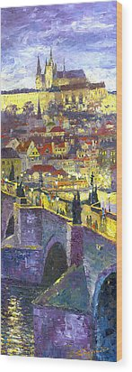 Prague Violet Panorama Night Light Charles Bridge Wood Print by Yuriy Shevchuk