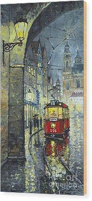 Praha Red Tram Mostecka Str  Wood Print by Yuriy  Shevchuk