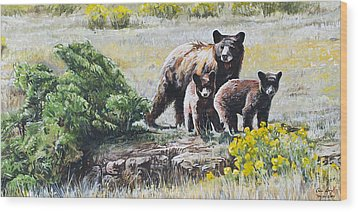 Prairie Black Bears Wood Print