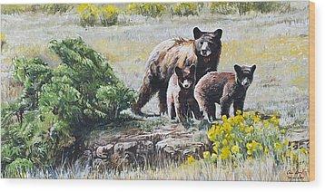 Prairie Black Bears Wood Print